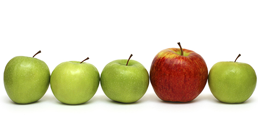 Line of green apples with one red apple
